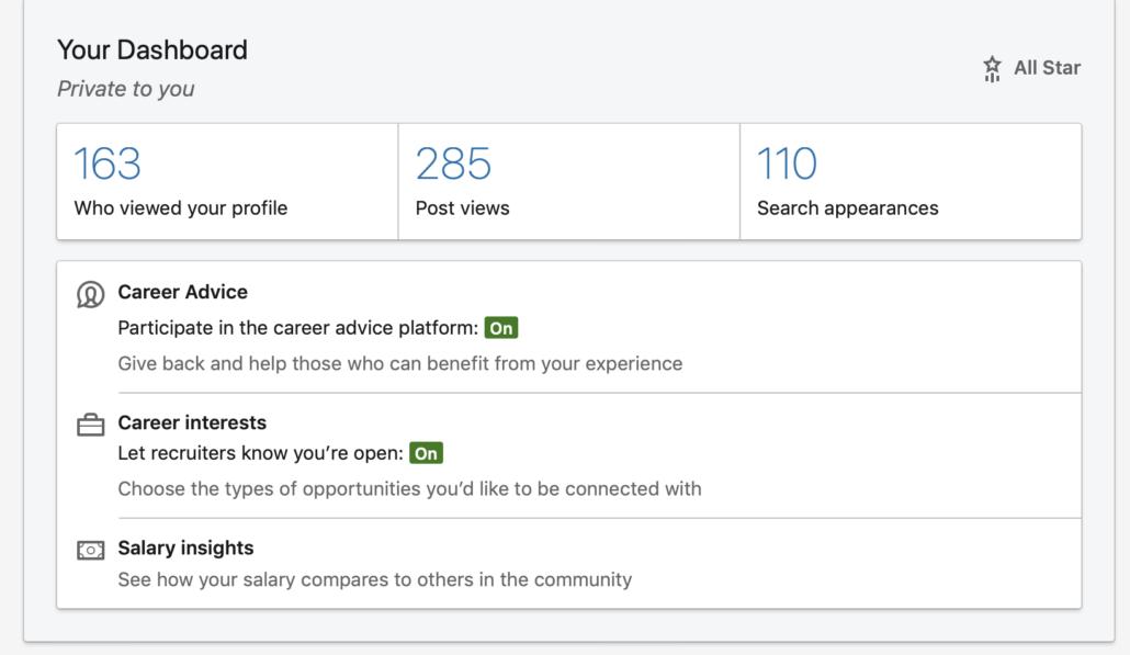 Turn on your LinkedIn career interests